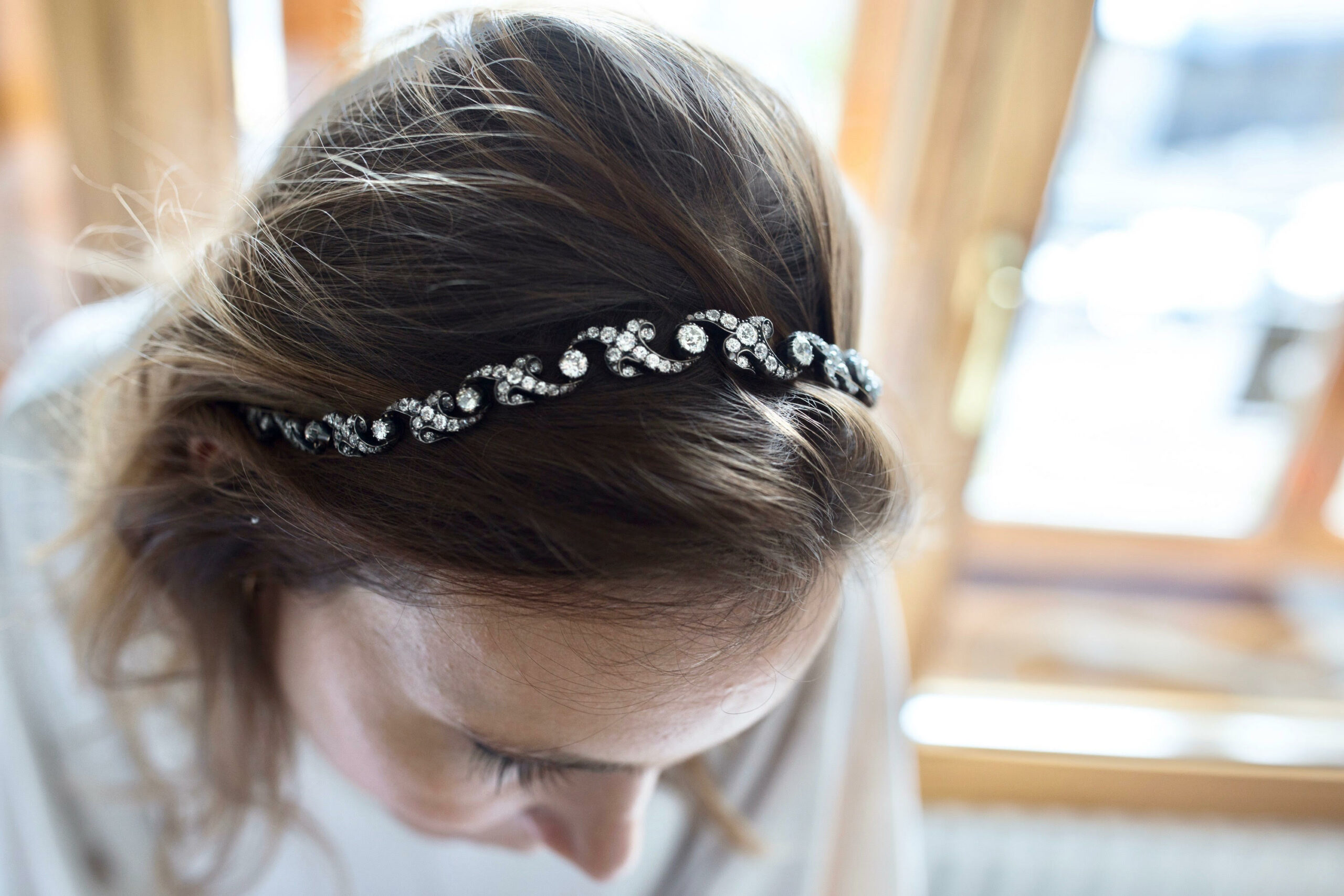 Golden pot leaf headband hair accessory with diamond cluster