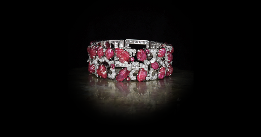 Art Deco platinum, carved ruby and diamond bracelet, courtesy of Paul Fisher, Inc.